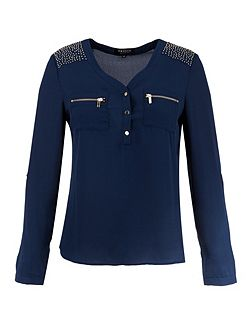 Blouse-style studded-shoulder top
