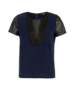 Dual-Fabric Lace-Insert Top