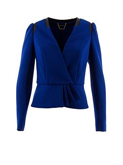 Cropped textured contrasting-edge jacket