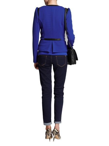 Morgan Cropped textured contrasting-edge jacket