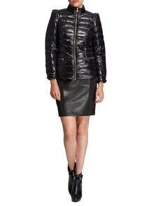 Morgan Quilted shiny-look short jacket