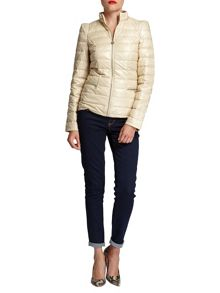 Quilted shiny-look short jacket