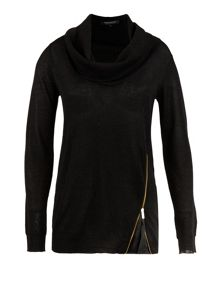Morgan Zipped-detail cowl-neck sweater