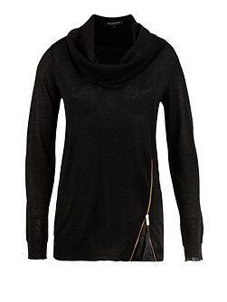 Zipped-detail cowl-neck sweater