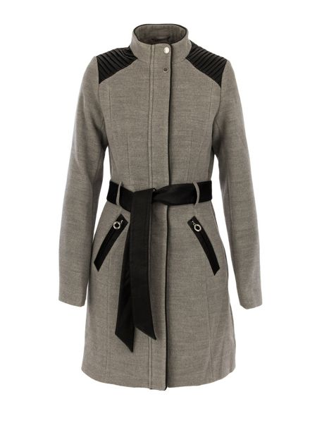 Morgan Leather-look-detail trench coat