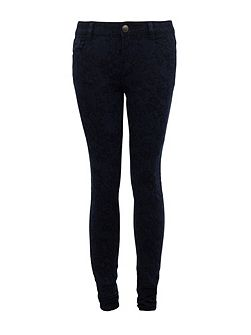 Slim-fit patterned jeans