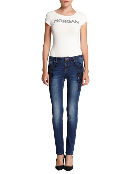 Morgan Slim-fit jeans with oriental embroidery