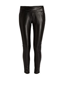 Plain Coloured Leather Style Trousers