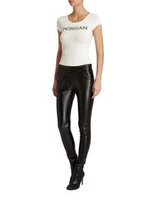 Morgan Plain Coloured Leather Style Trousers