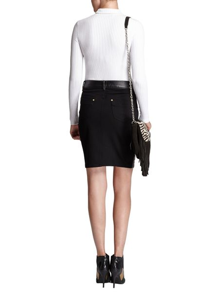Morgan Straight dual-fabric rock skirt