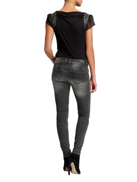 Morgan Slim-fit distressed-look jeans