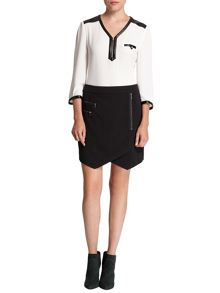 Morgan Zipped asymmetric skirt