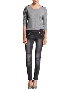 Slim-fit zipped washed-out jeans
