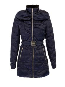 Morgan Belted down jacket with faux-fur collar