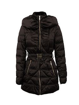 Belted down jacket with faux-fur collar