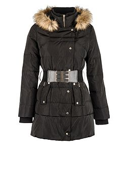Wide-belt quilted hooded jacket
