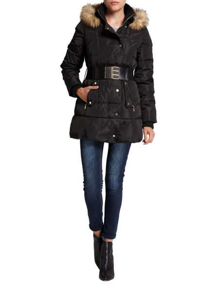 Morgan Wide-belt quilted hooded jacket