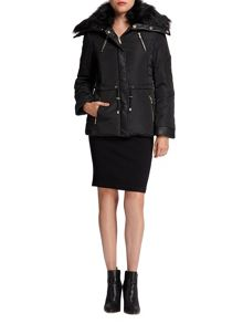 Morgan Furry-collar quilted jacket