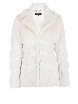 Furry-look piped-detail jacket