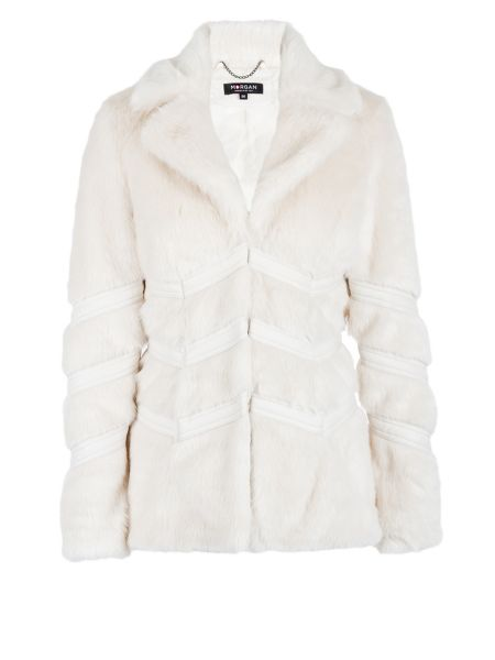 Morgan Furry-look piped-detail jacket