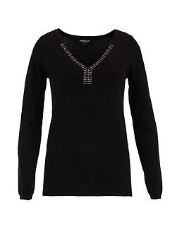 Fine rock sweater with V-neck