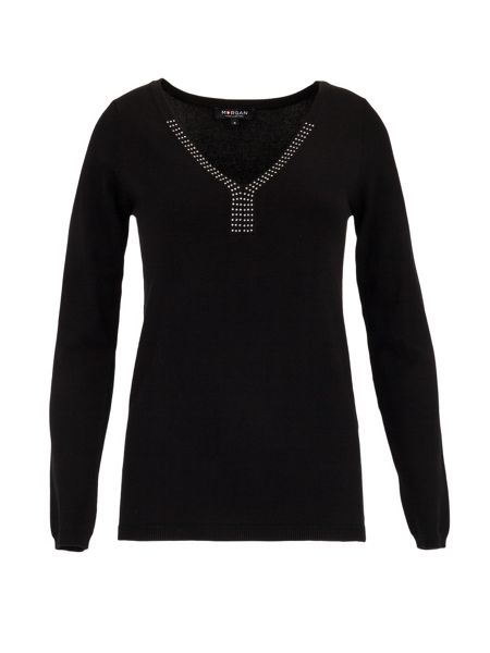 Morgan Fine rock sweater with V-neck