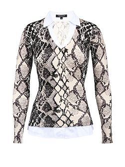 Snakeskin-Print Blouse And Sweater