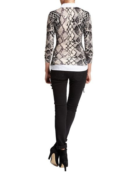 Morgan Snakeskin-Print Blouse And Sweater