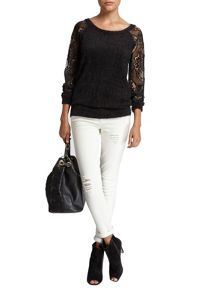 Morgan Lace-Overlay Sweater