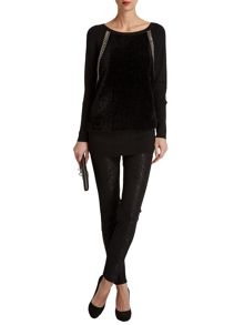 Morgan Furry-Front Knitted Sweater