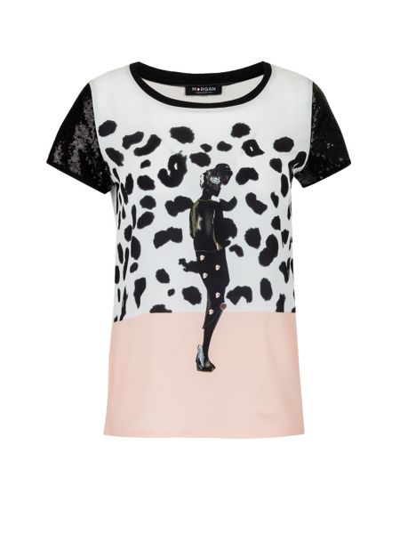 Morgan T-shirt with African pattern and sequins