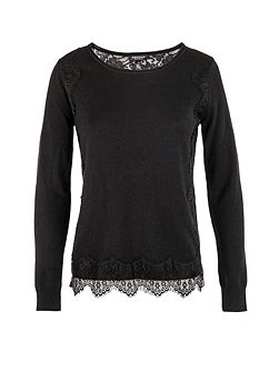 Lace-patterned fine-knit sweater
