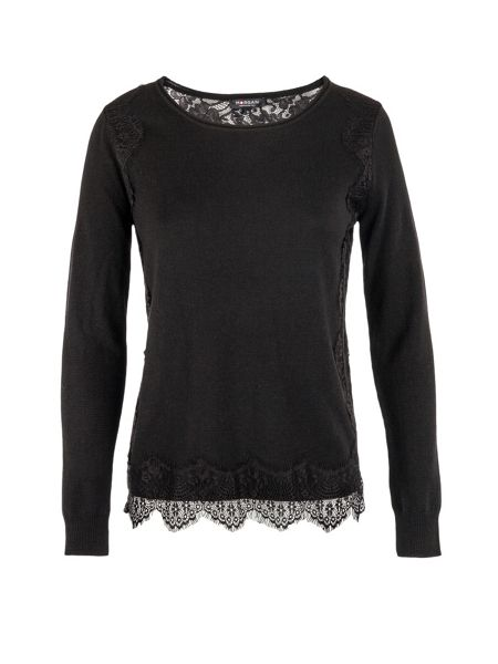 Morgan Lace-patterned fine-knit sweater