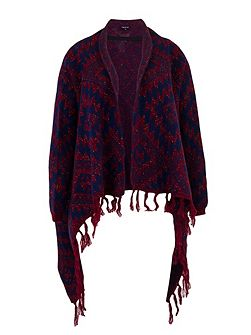 Poncho cardigan with Aztec pattern