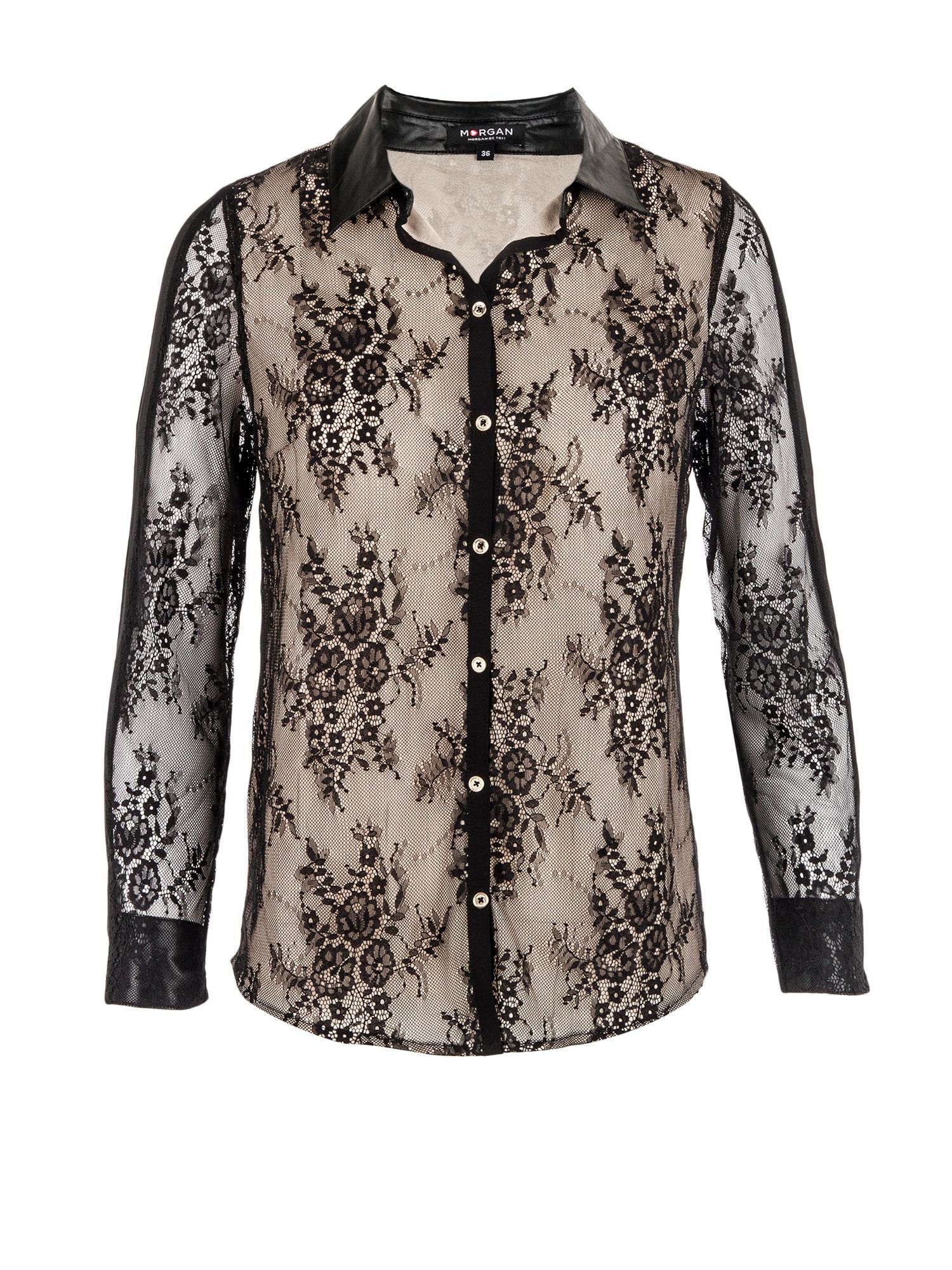 Morgan Floral lace-overlay blouse Black £39.20 AT vintagedancer.com