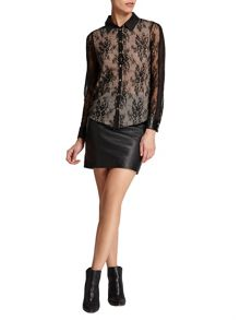 Morgan Floral lace-overlay blouse