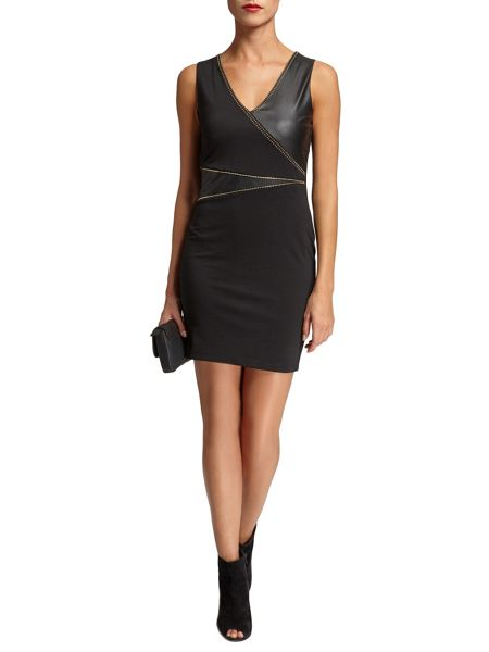 Morgan Contrasting studded-detail dress
