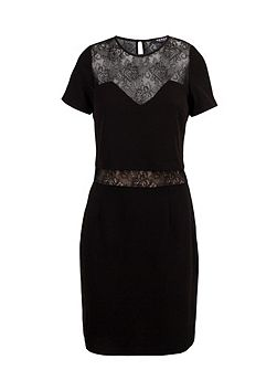 Plain Colour Dress With Lace Yoke
