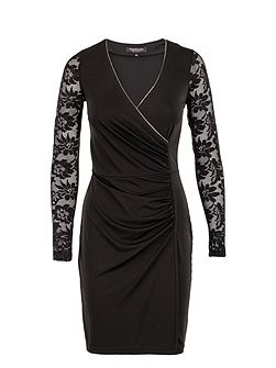 Lace-sleeved chain-detail dress