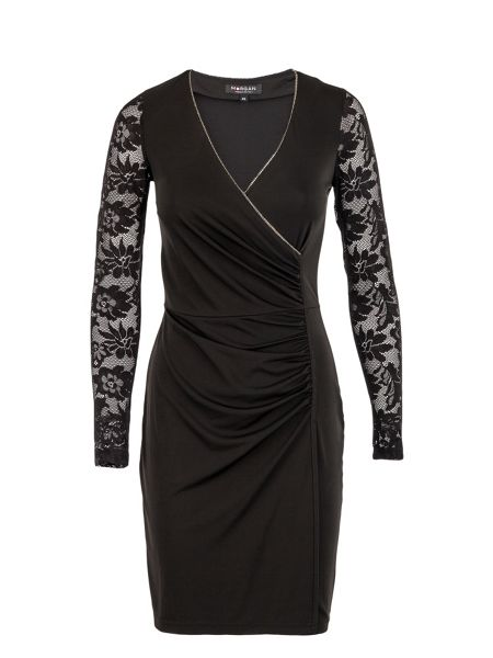 Morgan Lace-sleeved chain-detail dress