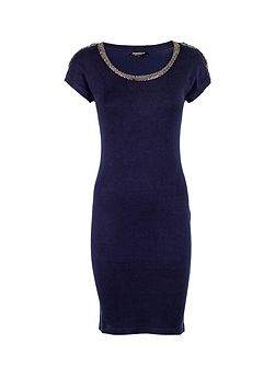 Beaded-detail fitted dress