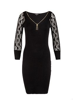 Fitted zip-detail knitted dress