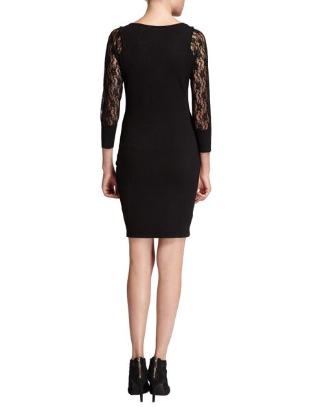 Morgan Fitted zip-detail knitted dress