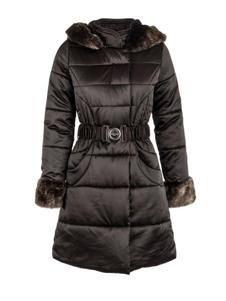 Morgan Shiny-look quilted belted jacket
