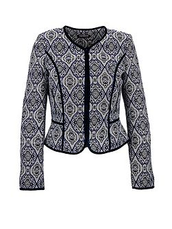 Fitted Geometric Pattern Jacket