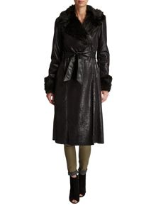 Morgan Leather-Look Long Trench Coat