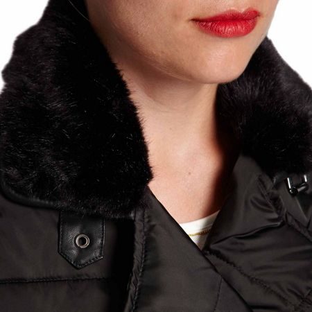 Morgan Cropped furry-collar quilted jacket