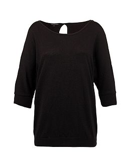 Open-shoulder glittery-knit top