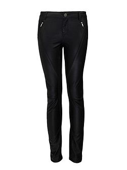 Slim-fit wax-coated trousers
