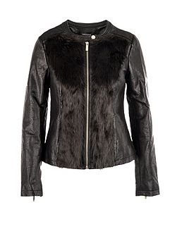 Furry-look biker-style jacket